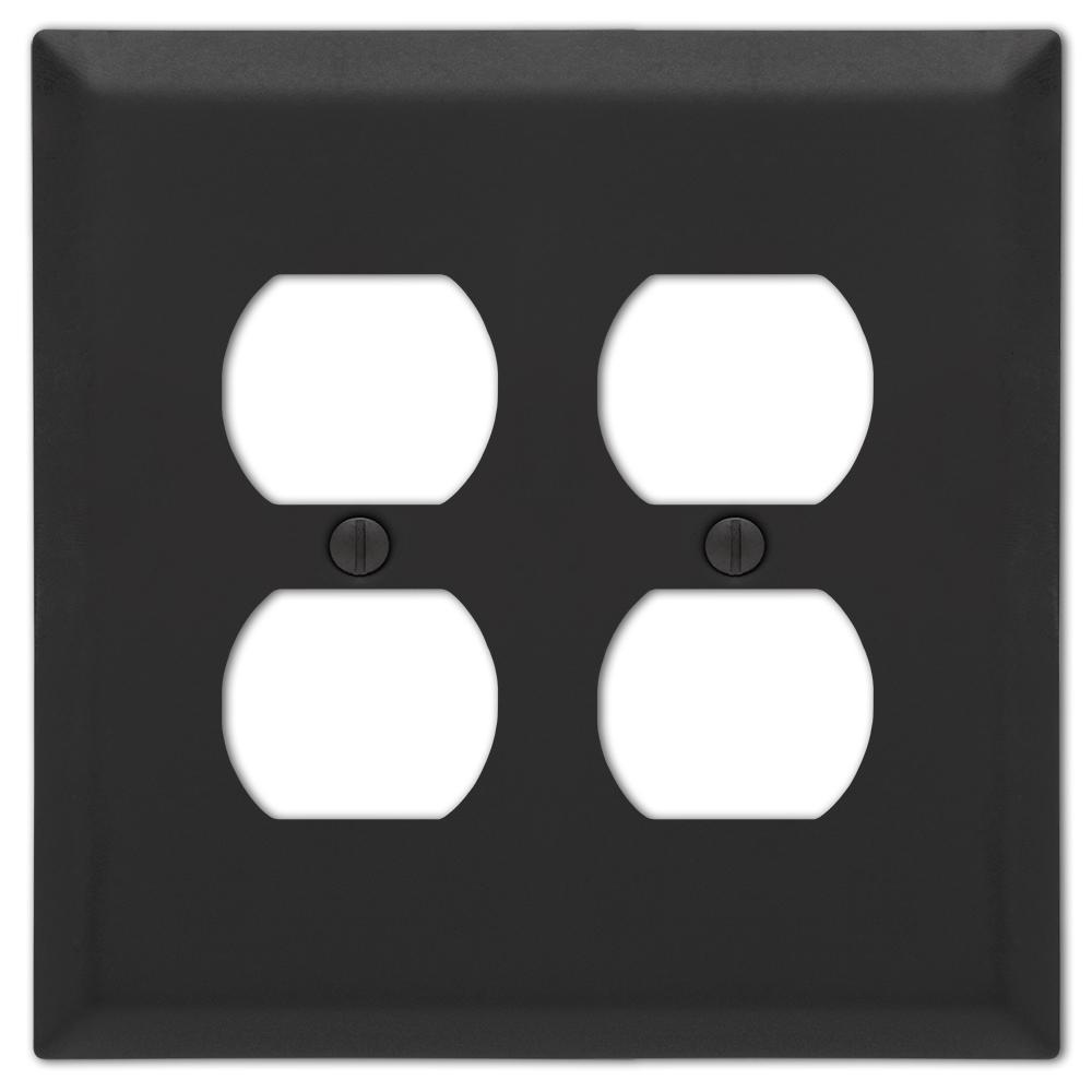 Metallic 2 Gang Duplex Steel Wall Plate - Black