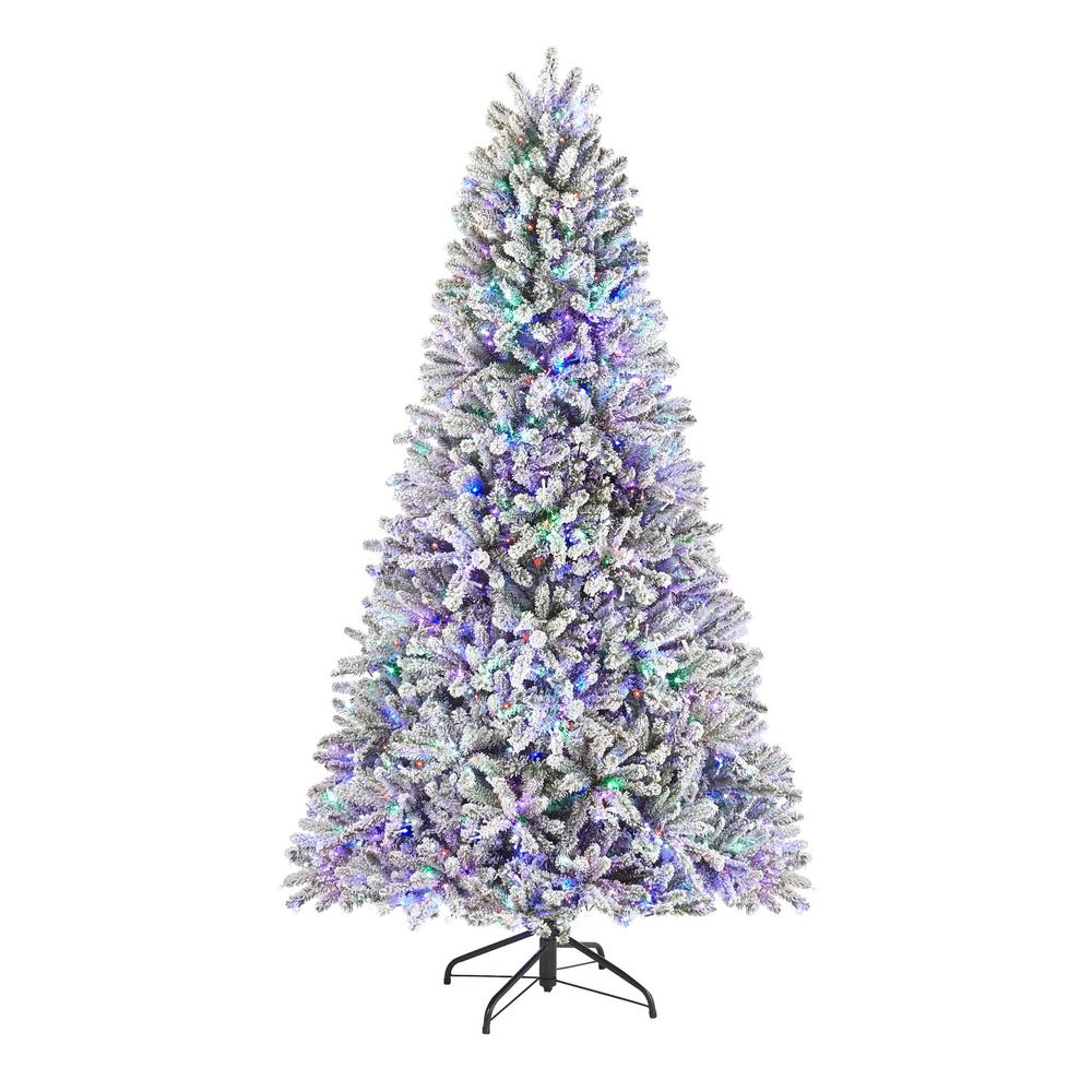 HomeAccentsHoliday Home Accents Holiday 7.5 ft. Pre-Lit LED Flocked Fraser with Multi-Color Lights