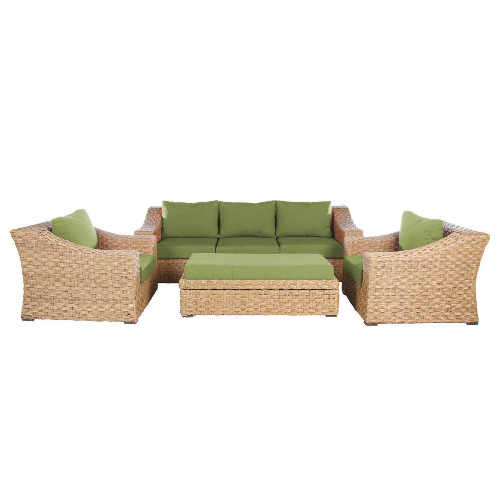 Elizabeth 6-Piece Wicker Patio Deep Seating Set with Spectrum-Cilantro Cushions