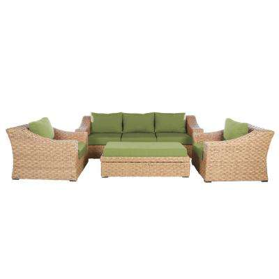Elizabeth 6-Piece Wicker Patio Deep Seating Set with Spectrum-Cilantro Cushions