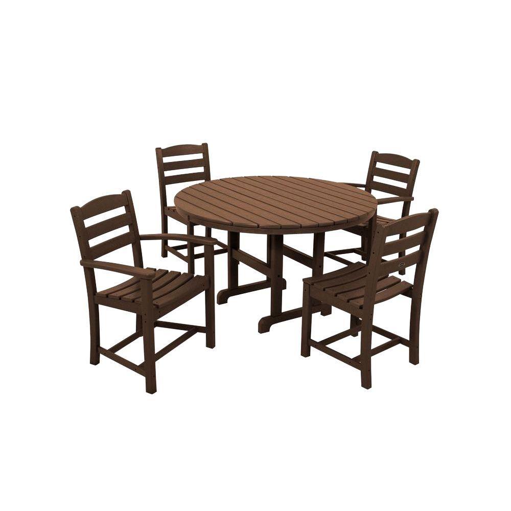 POLYWOOD La Casa Cafe Mahogany 5-Piece Plastic Outdoor Patio Dining Set