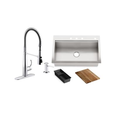Lyric Workstation 33 in. Dual Mount Stainless Steel Single Bowl Kitchen Sink with Simplice Semi Pro Kitchen Faucet