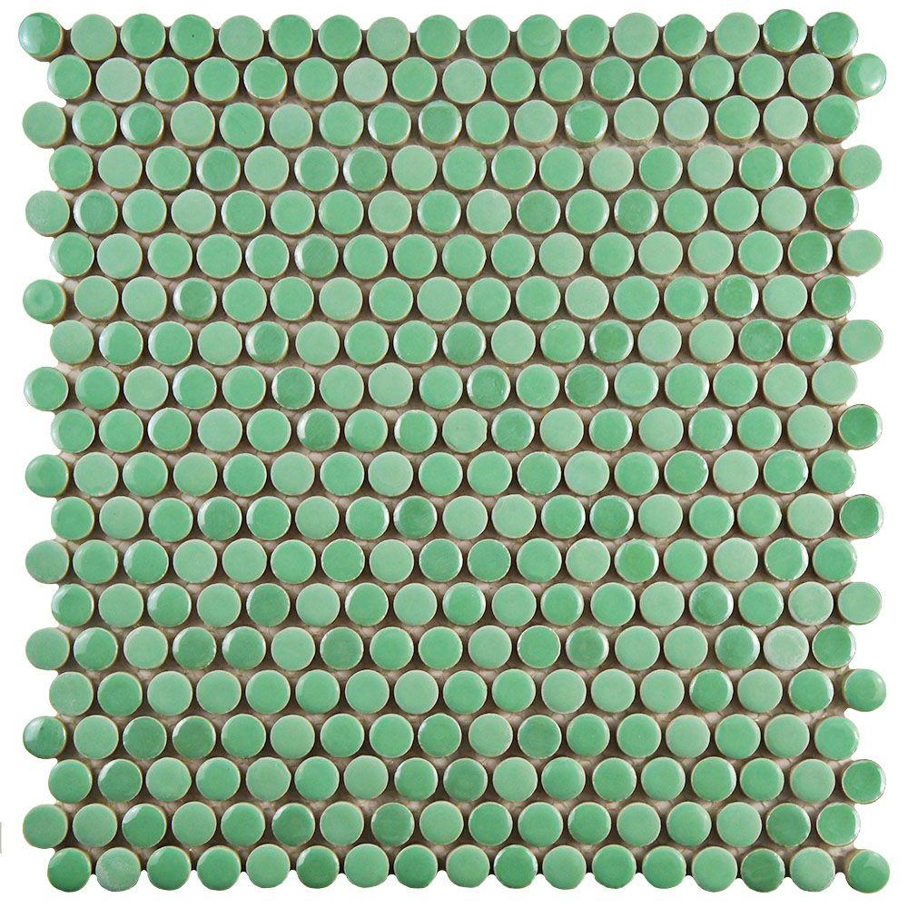 Merola Tile Galaxy Penny Round Capri 11-1/4 in. x 11-3/4 in. x 9 mm Porcelain Mosaic Tile