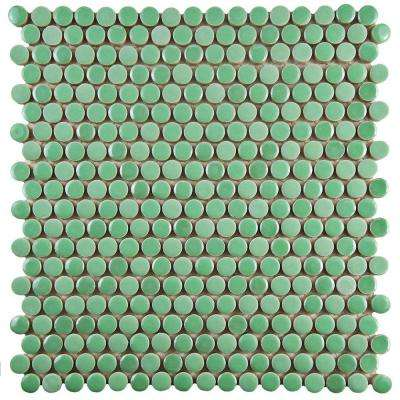 Galaxy Penny Round Capri 11-1/4 in. x 11-3/4 in. x 9 mm Porcelain Mosaic Tile