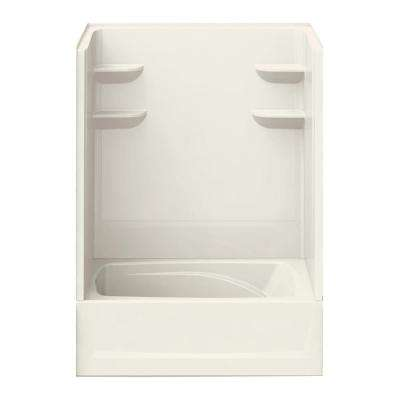 37 in. x 60 in. x 83 in. Bath and Shower Kit Left-Hand Drain in Biscuit