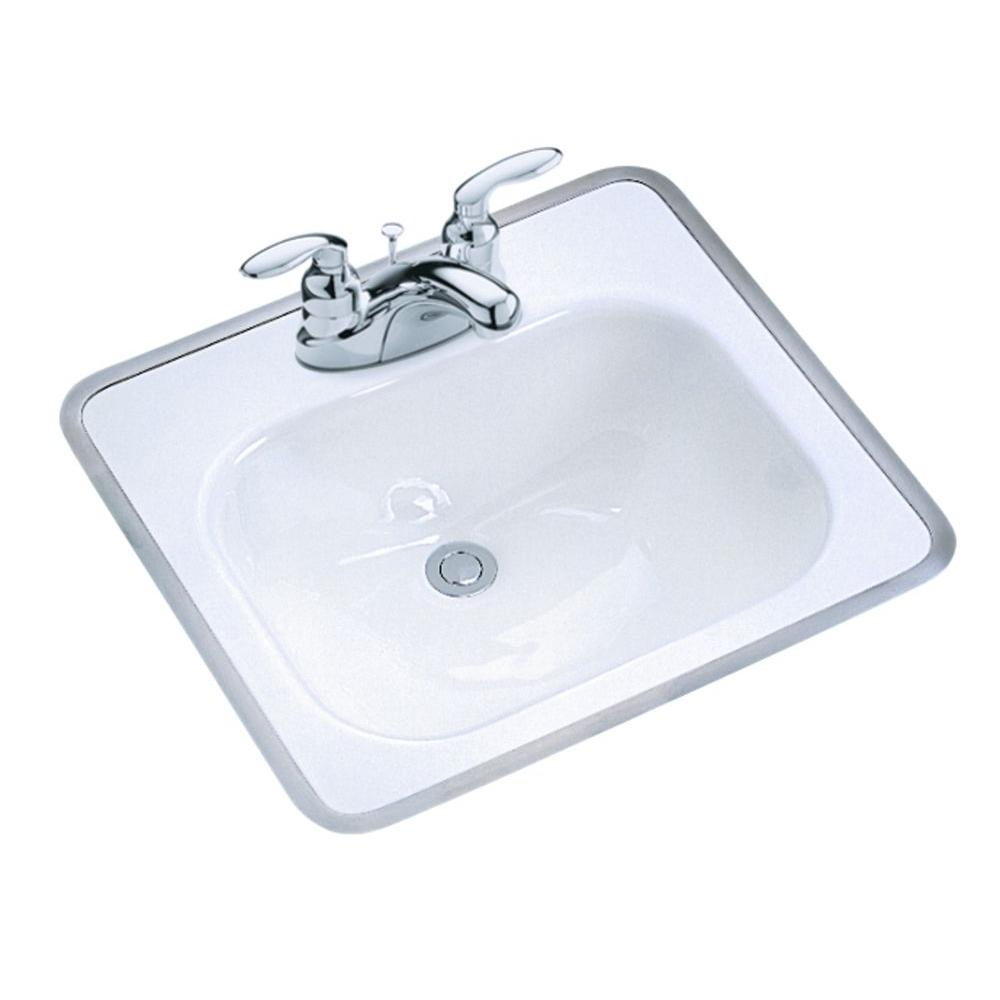 Kohler tahoe drop in cast iron bathroom sink in white with overflow drain k 2890 4 0 the home Kohler cast iron bathroom sink