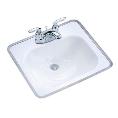 Tahoe Drop-In Cast Iron Bathroom Sink in White with Overflow Drain