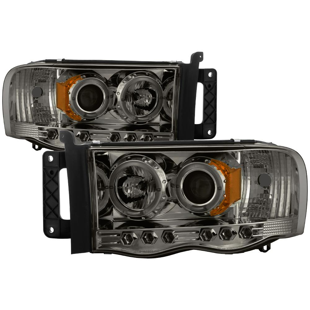 Dodge Ram 1500 02 05 2500 3500 03 Projector Headlights Led Halo Replaceable Leds Smoke