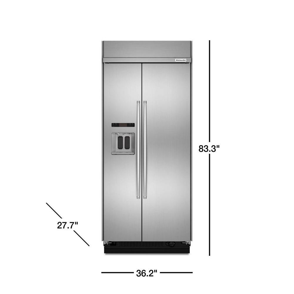 Kitchenaid 20 8 Cu Ft Built In Side By Refrigerator Printshield Stainless Steel With Exterior Ice And Water