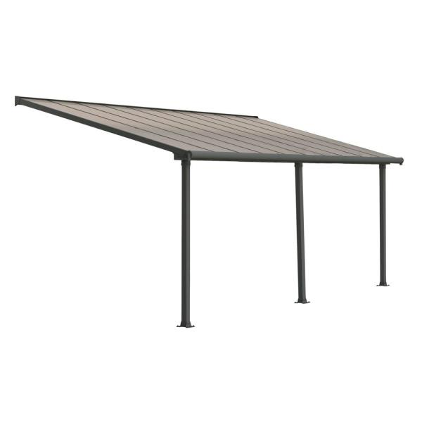 Olympia 10 ft. x 20 ft. Grey/Bronze Patio Cover Awning