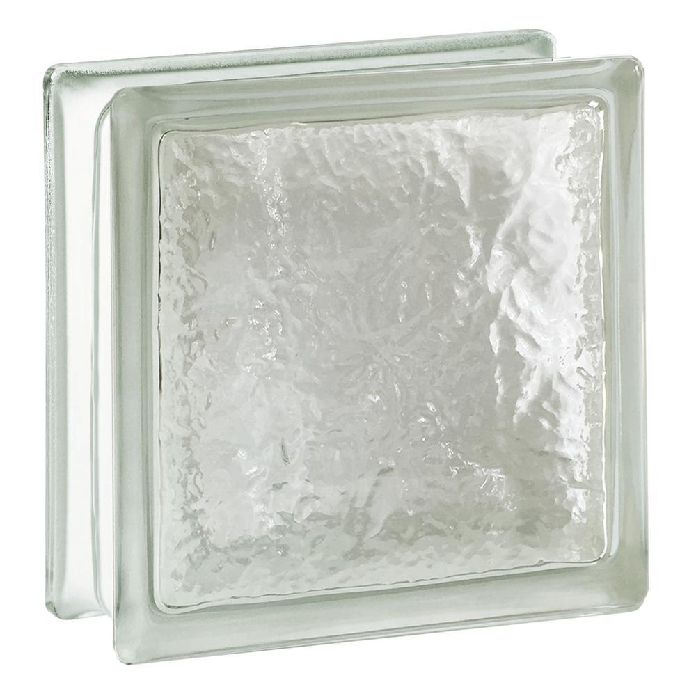 Cortina 7.75 in. x 7.75 in. x 3.875 in. Ice Pattern Glass Block