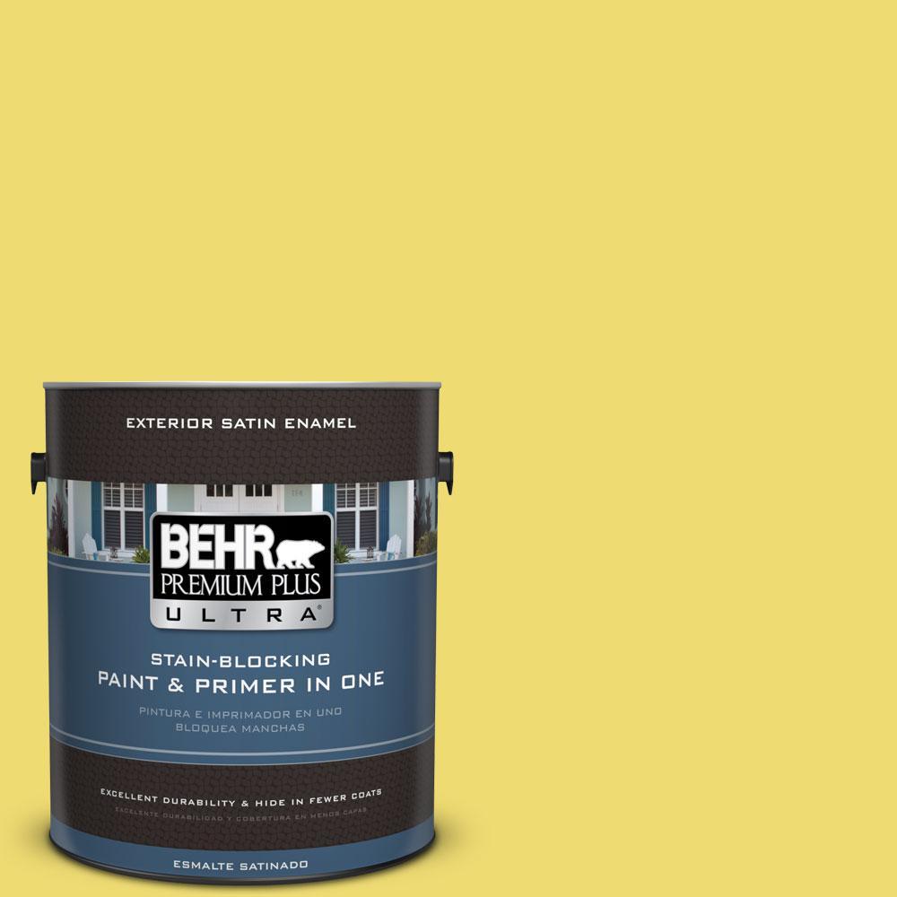 BEHR Premium Plus Ultra 1-gal. #T15-15 Plastic Lime Satin Enamel Exterior Paint, Yellows/Golds