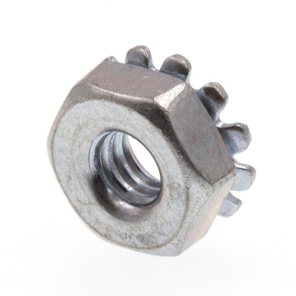 #8-32 Zinc Plated Steel K-Lock Nuts with External Tooth Washer (50-Pack)