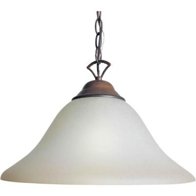 1-Light Rustic Sienna Single Pendant with Shaded Umber Glass
