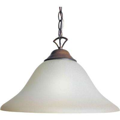 1 Light Rustic Sienna Single Pendant With Shaded Umber Glass