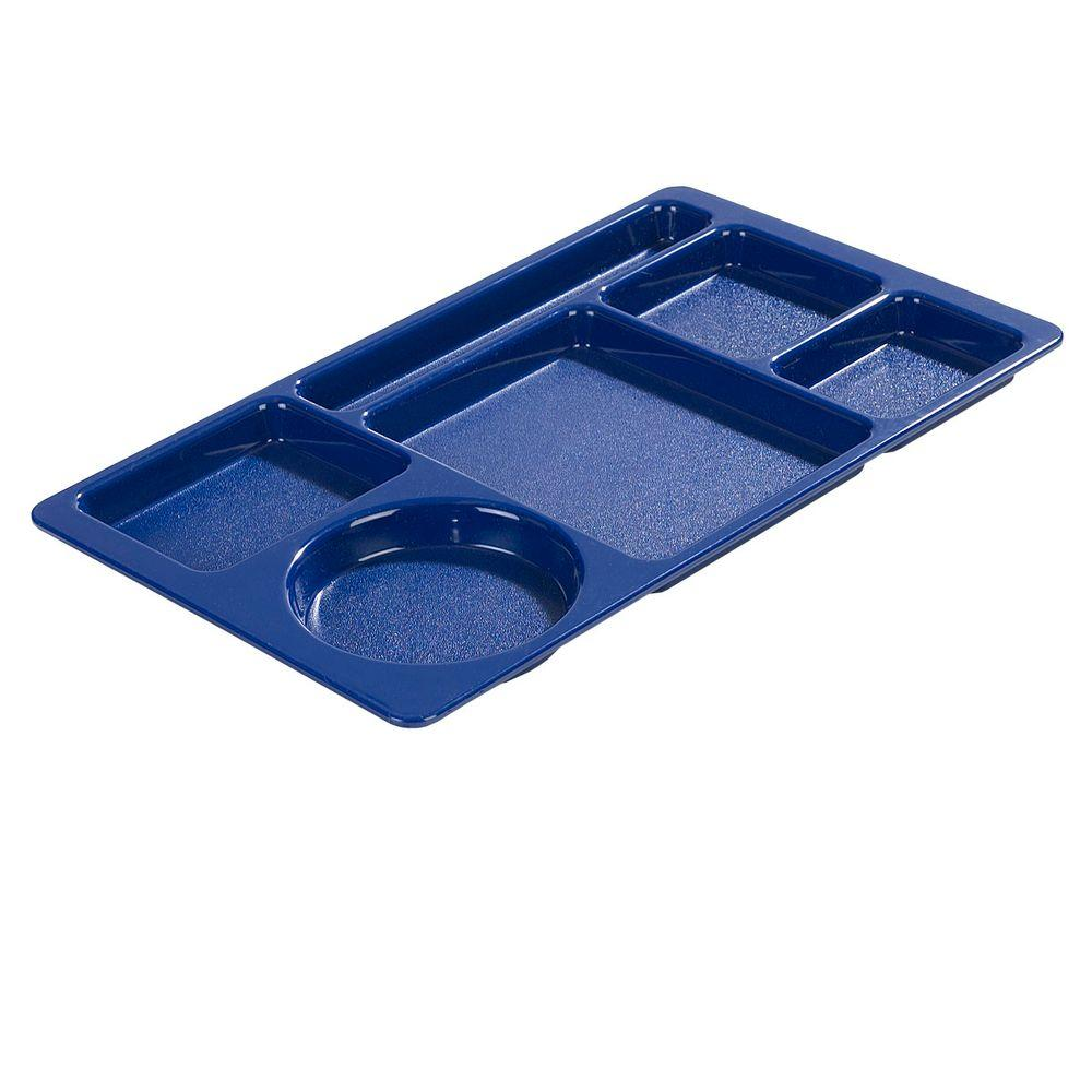 15x9 in. ABC Plastic Omnidirectional Space Saver 6-Compartment Tray in Blue