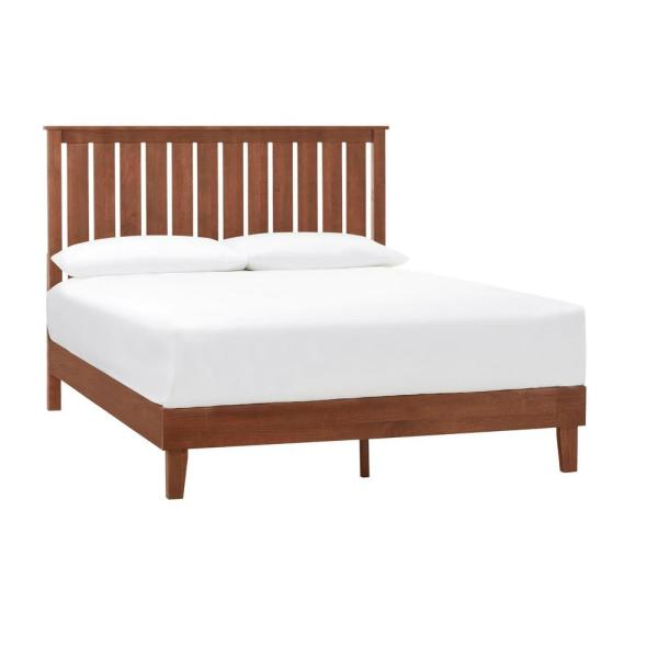 Gatestone Walnut Finish Queen Bed with Vertical Slats (61.18 in. W x 48 in. H)
