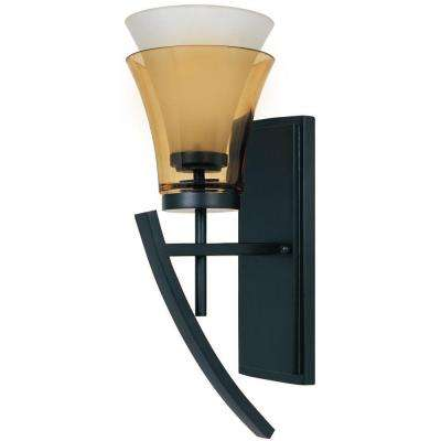 Majorca 1-Light Oil Rubbed Bronze Wall Mounted Sconce with Clear Champagne and Frosted White Shade