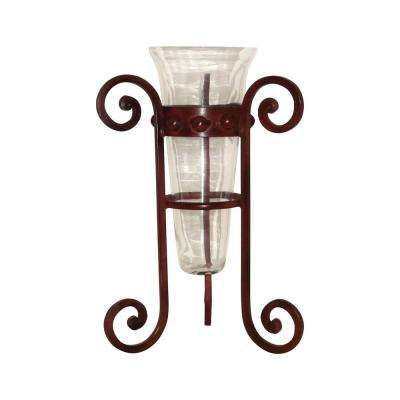 Fiore 16 in. Iron And Glass Decorative Vase in Montana Rustic