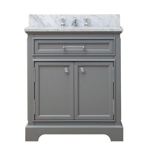 30 in. W x 21.5 in. D Vanity in Cashmere Grey with Marble Vanity Top in Carrara White and Chrome Faucet
