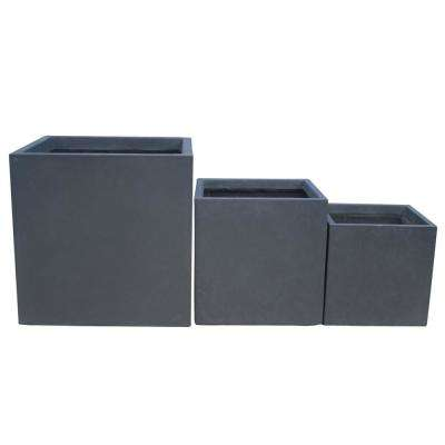 Lightweight Concrete Modern Square Charcoal Planter (Set of 3)
