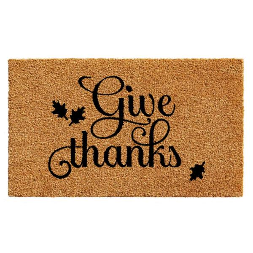 Give Thanks 17 in. x 29 in. Coir Door Mat