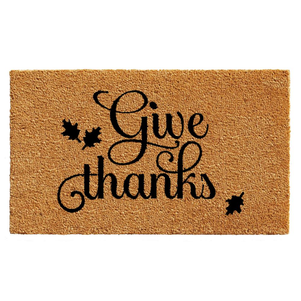 Give Thanks 17 in. x 29 in. Coir Door Mat