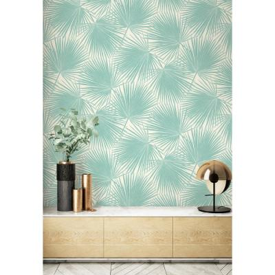 Aruba Turquoise and White Palm Leaf Wallpaper