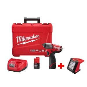 Milwaukee M12 FUEL 12-Volt Lithium-Ion Brushless Cordless 3/8 inch Impact Wrench Kit W/ Free M12 Compact Flood Light by Milwaukee