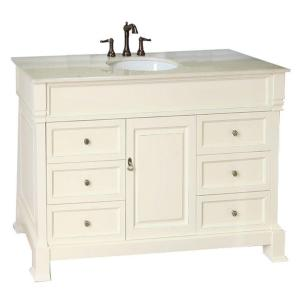 Bellaterra Home Olivia 50CR 50 inch Single Vanity in Cream White with Marble Vanity Top in... by Bellaterra Home