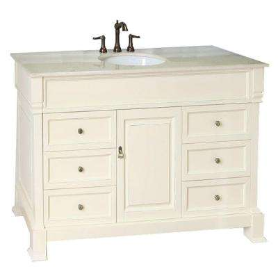 Single Vanity In Cream White With Marble Top