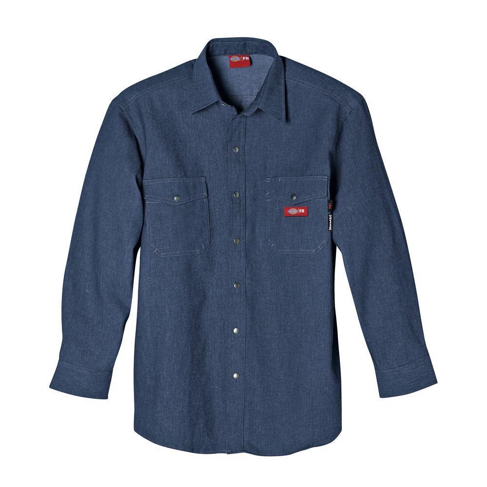Men's 4X-Large Indigo Blue Flame Resistant Long Sleeve Denim Snap Front