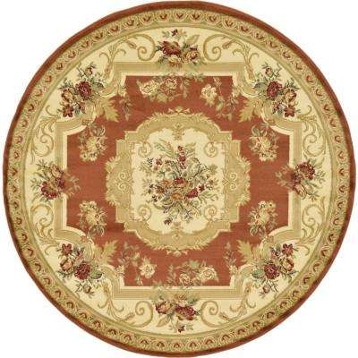 Traditional Versailles Brick Red 6 ft. x 6 ft. Area Rug
