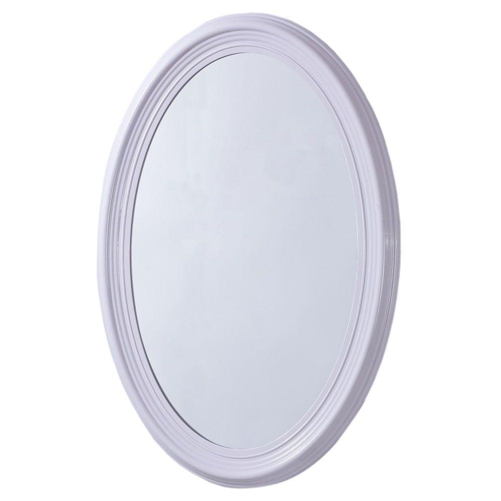Pendleton 21 in. x 31 in. Oval Single Framed Wall Mount Mirror in White