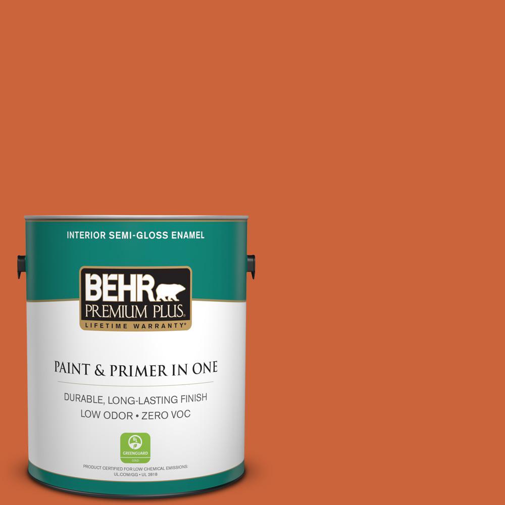 BEHR Premium Plus 1 gal. #S-H-250 Pumpkin Patch Semi-Gloss Enamel Zero VOC Interior Paint and Primer in One