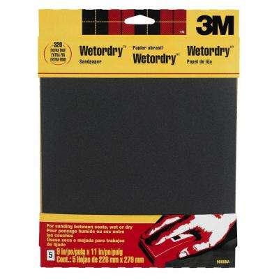9 in. x 11 in. 320-Grit Extra Fine Silicon Carbide Sandpaper 5-Pack (Case of 50)