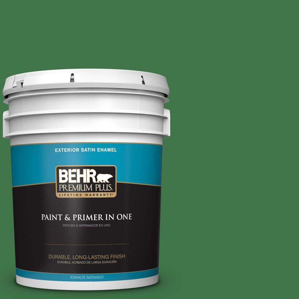 BEHR Premium Plus 5-gal. #P410-7 Grasslands Satin Enamel Exterior Paint