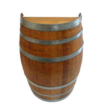 26 in. W x 35 in. H Lacquer Oak Wood Split Wine Barrel Stand