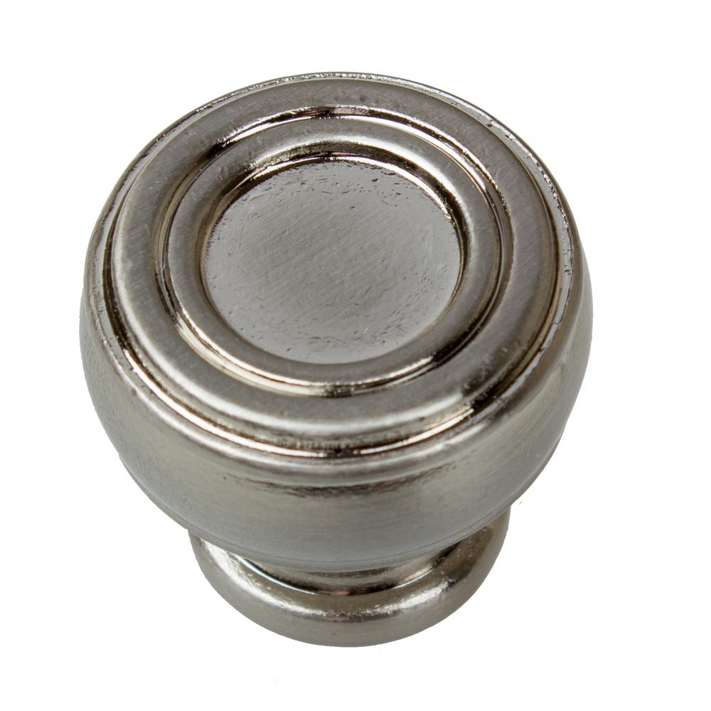 1-1/8 in. Dia Satin Nickel Bold Round Barrel-Shaped Cabinet Knob (10-Pack)