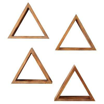 4 in. x 15 in. Triangular Brown Wood Decorative Shelves (Set of 4)