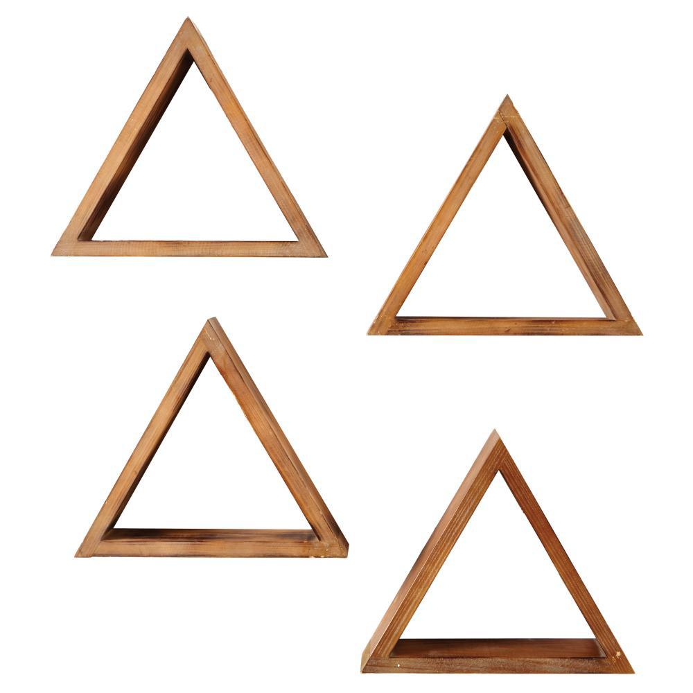 4 in. x 15 in. Triangular Brown Wood Decorative Shelves (Set