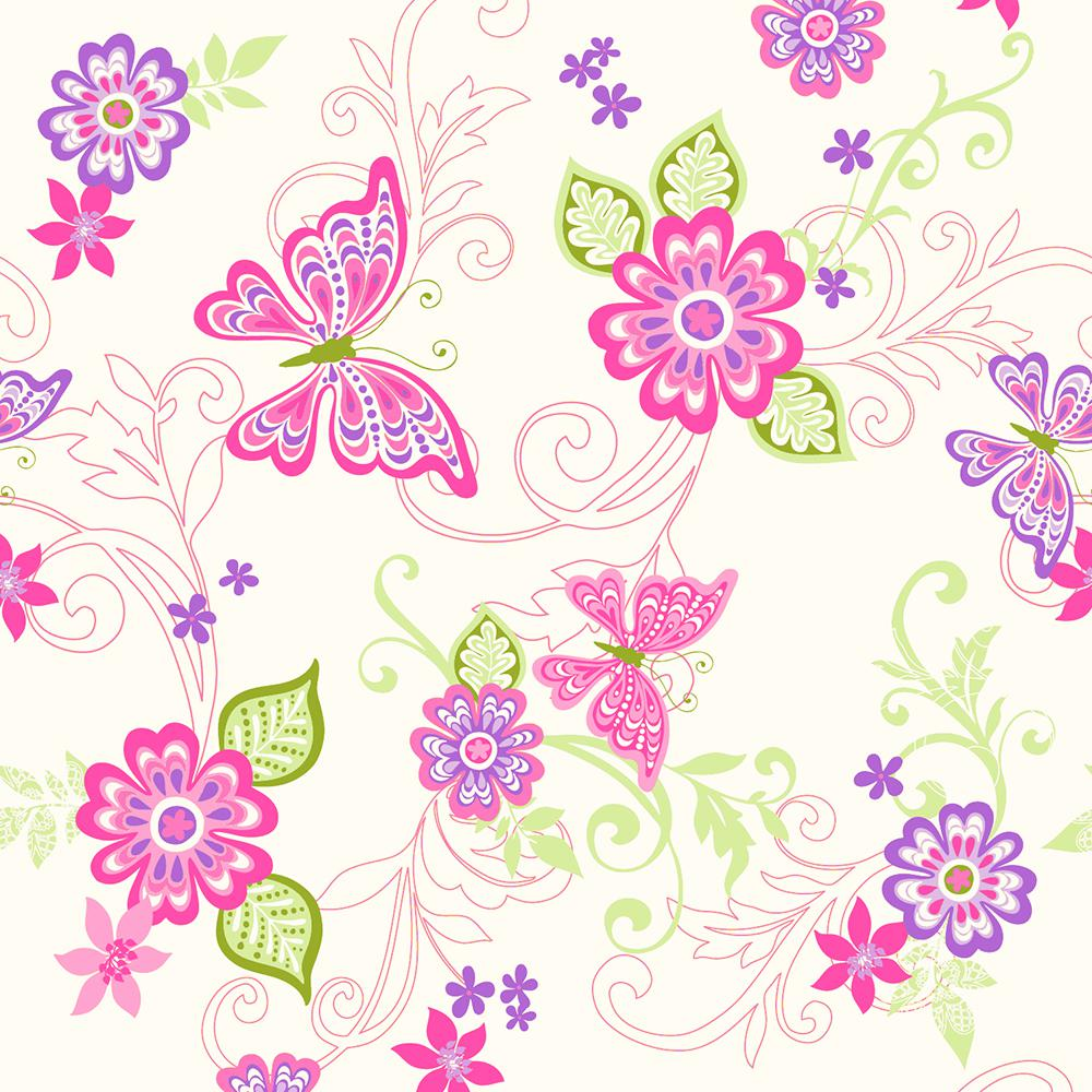 Chesapeake Paisley Pink Butterfly Flower Scroll Wallpaper Sample
