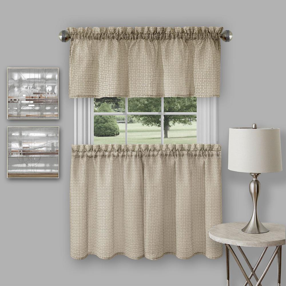 Achim Richmond Tan Polyester Tier And Valance Curtain Set