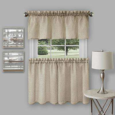 Richmond Tan Polyester Tier and Valance Curtain Set - 58 in. W x 24 in. L