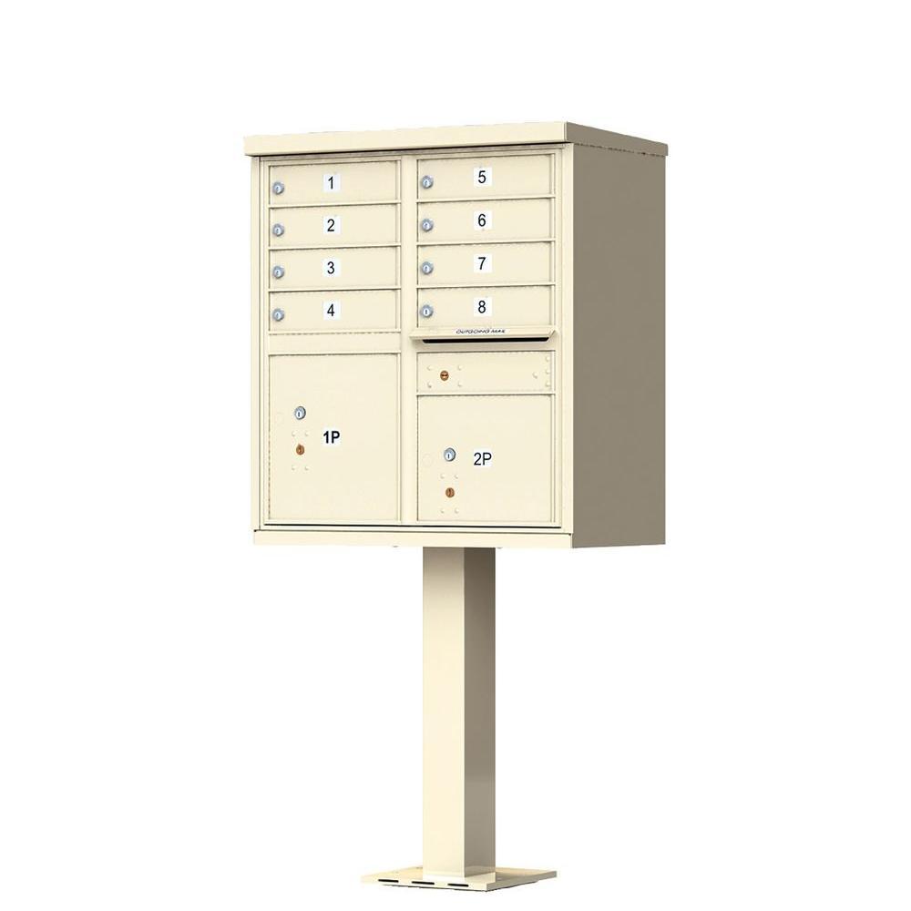 Vital 1570 Series 8 Mailboxes, 1 Outgoing Mail Compartment, 2 Parcel Lockers Pedestal Mount Cluster Box Unit