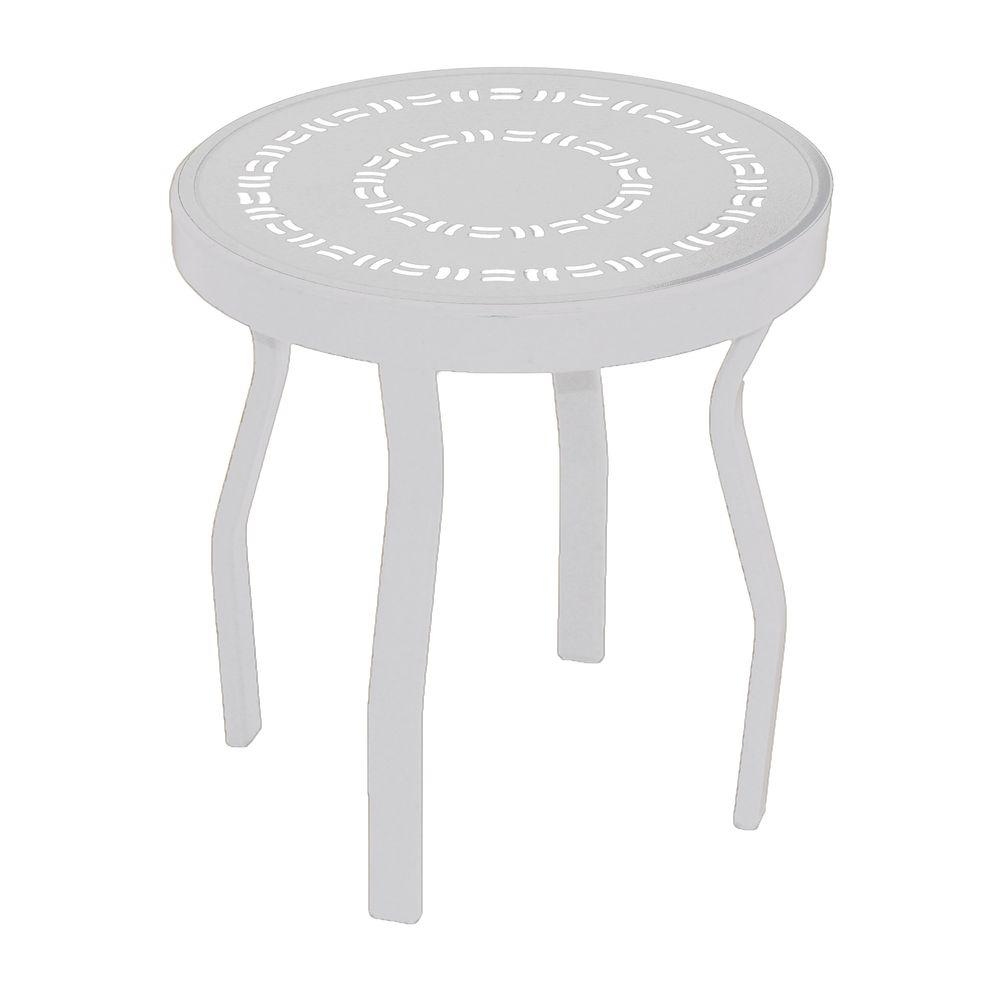 Marco Island 18 in. White Round Commercial Aluminum Patio Side Table