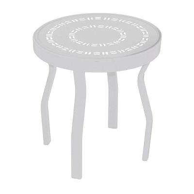 White Round Commercial Aluminum Patio Side Table