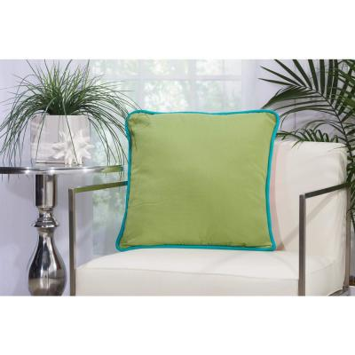 Corded Green and Coral Solid Stain Resistant Polyester 20 in. x 20 in. Throw Pillow