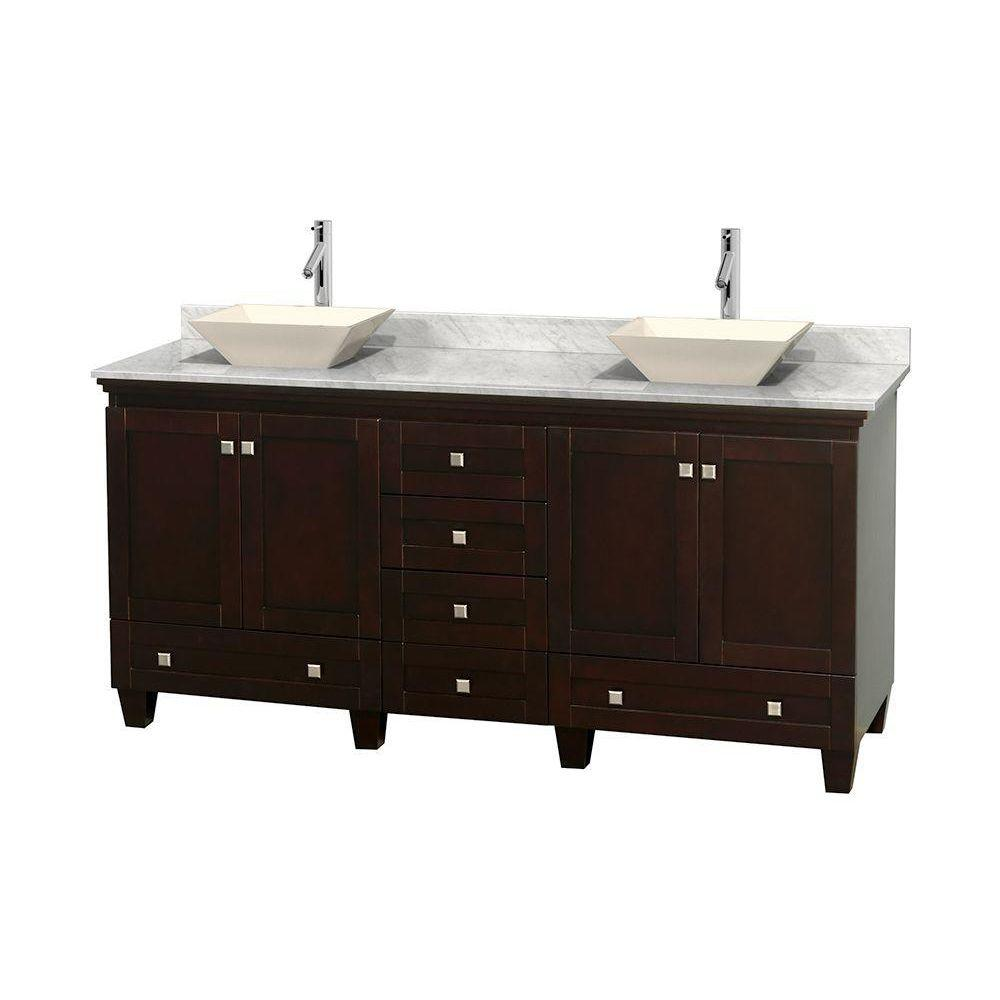 Wyndham Collection Acclaim 72 in. W Double Vanity in Espresso with Marble Vanity Top in Carrara White and Bone Sinks