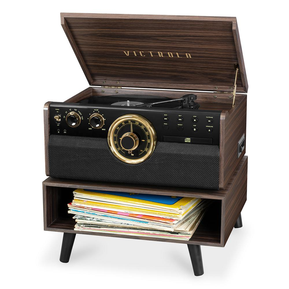 Victrola 6-in-1 Wood Bluetooth Record Player with CD Cassette /& Radio VTA-270B